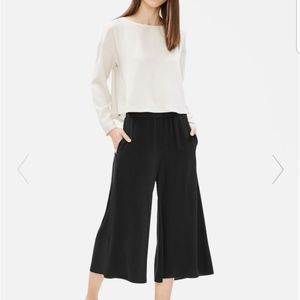 Eileen Fisher 100% Silk Cropped Wide Pleated Pant